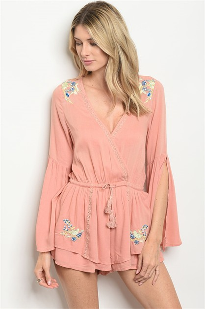 Long bell sleeve  embroidered romper - orangeshine.com