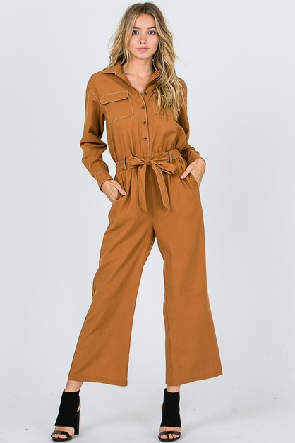 SELF BELT SHIRT JUMPSUIT  - orangeshine.com