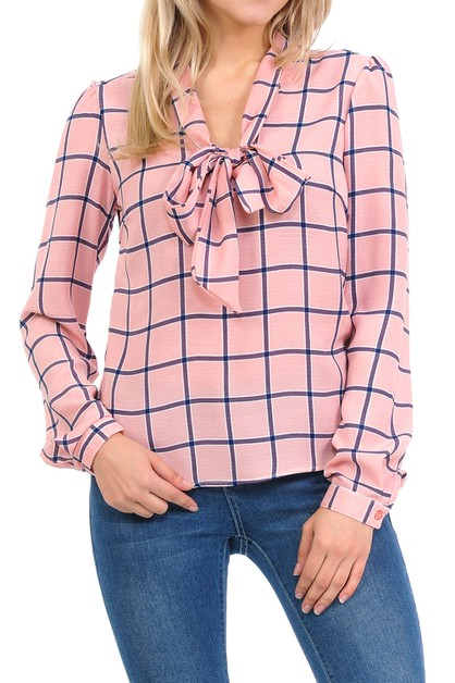 Woven Long Sleeve Blouse With Front  - orangeshine.com