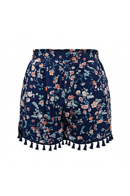 Girls Navy Floral Shorts Kids Bottom - orangeshine.com