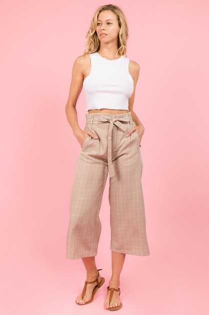 Plaid Self Tie Pants  - orangeshine.com