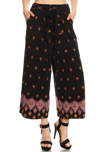 Cropped Wide Leg Palazzo Pants Black - orangeshine.com