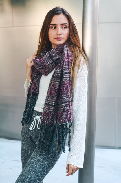 Mohair Plaid Blanket Scarf - orangeshine.com