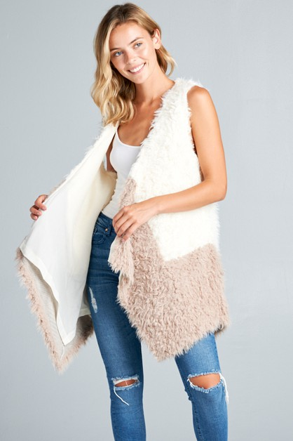 FAUX FUR SIDE PKT COLOR BLOCK VEST - orangeshine.com