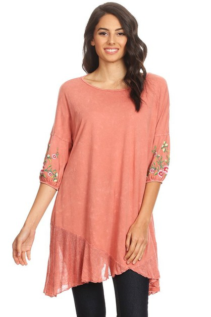 MINERAL EMBELLISHED SLEEVE TUNIC TOP - orangeshine.com
