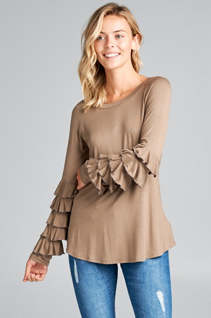 MINI RUFFLED LONG SL ROUND NECK TOP - orangeshine.com