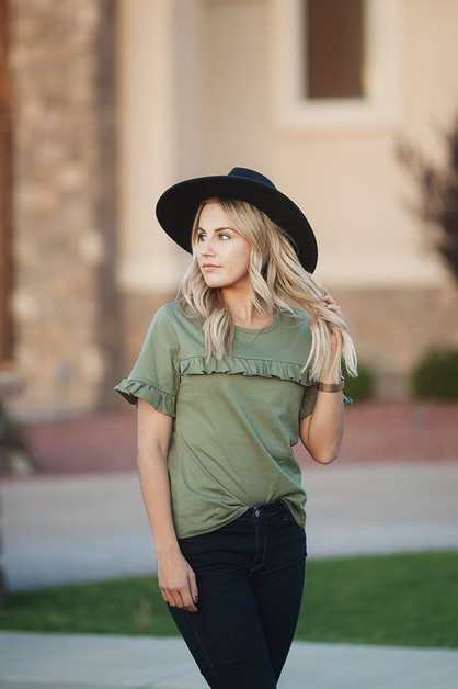 Kinsley Top - Olive Ruffle - orangeshine.com