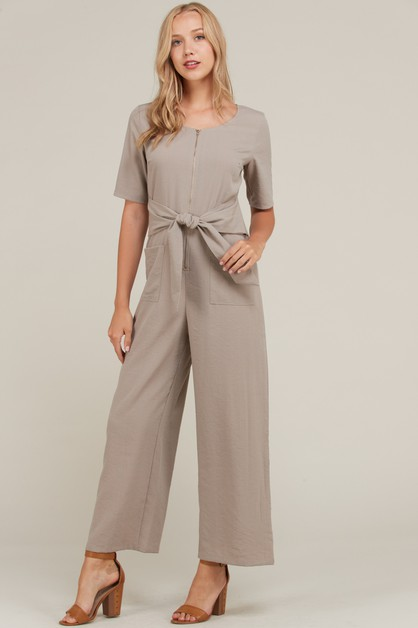 FRONT ZIPPER AND TIE POINT JUMPSUIT - orangeshine.com
