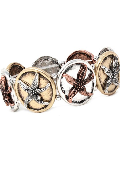 Mix Metal Sea Star Fish Bracelet - orangeshine.com