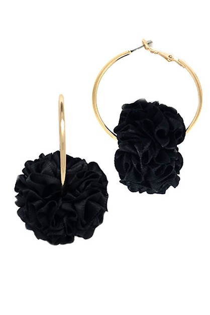 Fabric Flower Hoop Earrings  - orangeshine.com