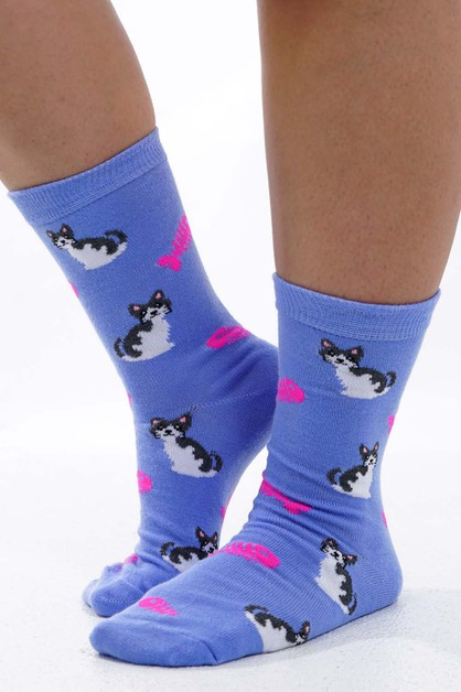 Cat Socks Purple - orangeshine.com