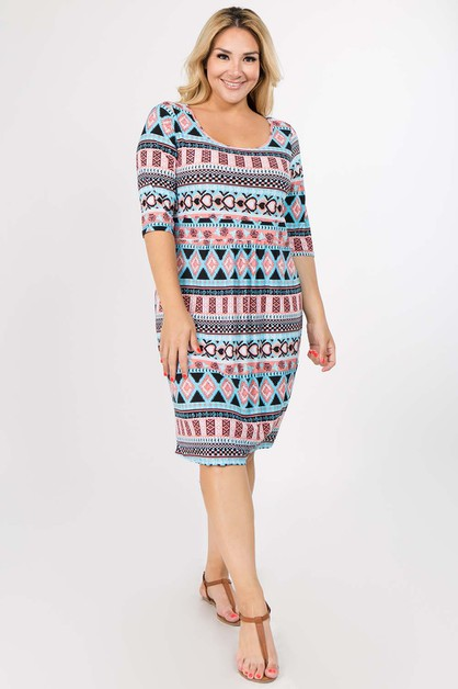 Tribal Print Dress - orangeshine.com