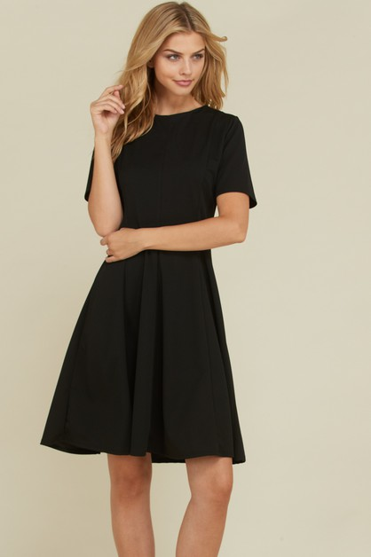 PANELED SHORT SL & FLARE DRESS - orangeshine.com