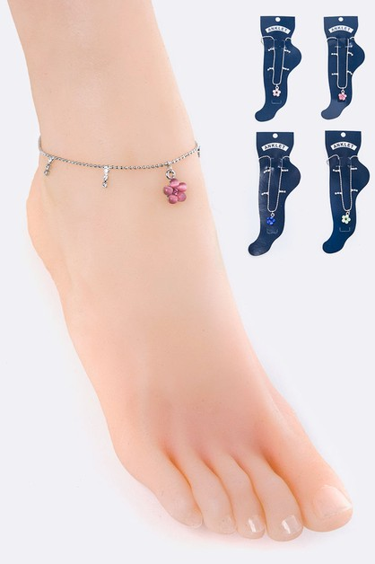 Crystal Flower Charm Ball Anklet - orangeshine.com