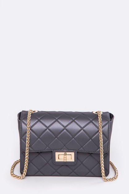 Quilted Texture Jelly Shoulder Bag - orangeshine.com