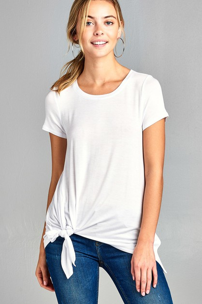 SHORT SLEEVE ROUNDNECK SIDE KNOT TOP - orangeshine.com