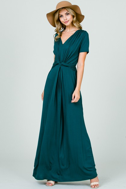 FRONT KNOT MAXI DRESS - orangeshine.com