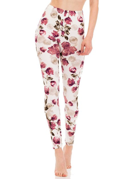 Rose Garden Brushed Leggings - orangeshine.com