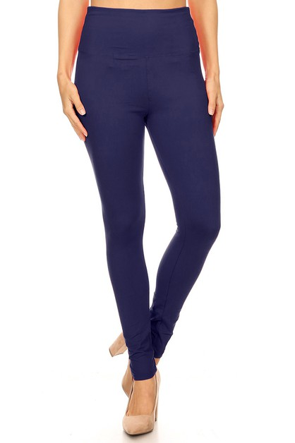 SOLID LEGGINGS WITH EXTRA WIDE BAND - orangeshine.com