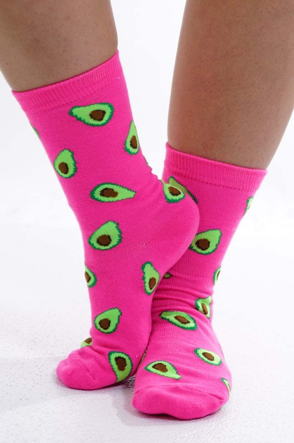 Avocado Socks HotPink  - orangeshine.com