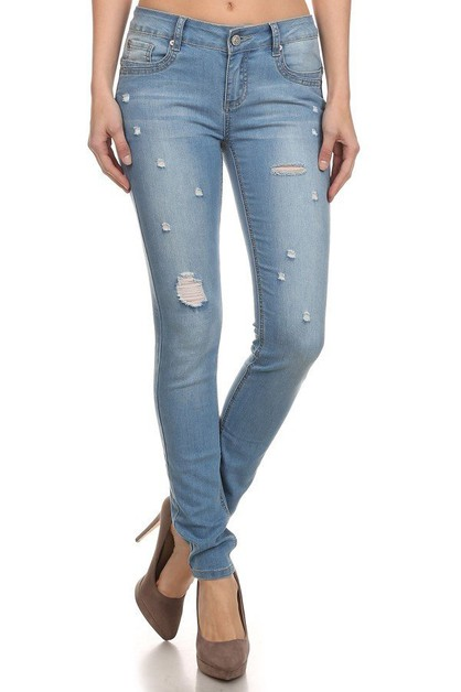 Distress complemented skinny jeans - orangeshine.com