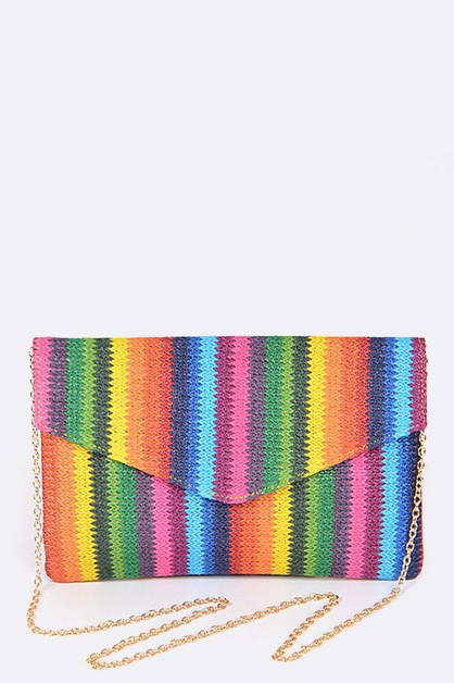 Rainbow Color Weaved Envelope Clutch - orangeshine.com