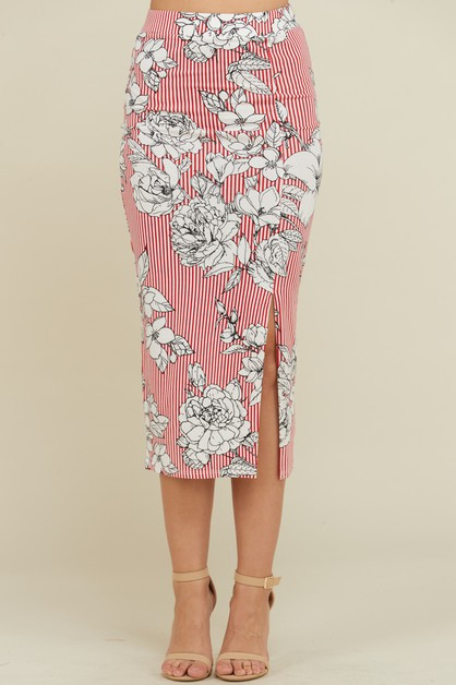 SIDE SLIT PRINT SKIRT  - orangeshine.com