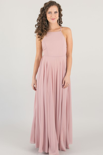 Pink Bridesmaid Flowy Maxi Dress - orangeshine.com