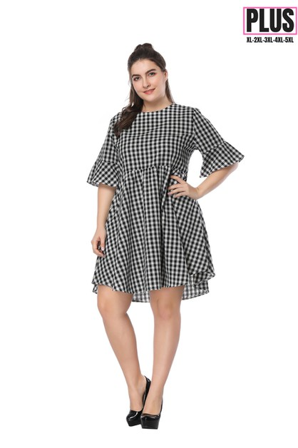 Plaid plus size mini dress - orangeshine.com