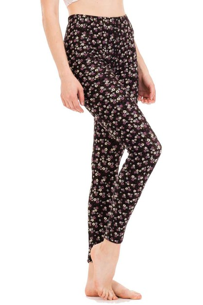 Flower Dots Print Leggings - orangeshine.com