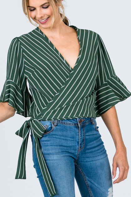 STRIPE WRAP TIE TOP  - orangeshine.com