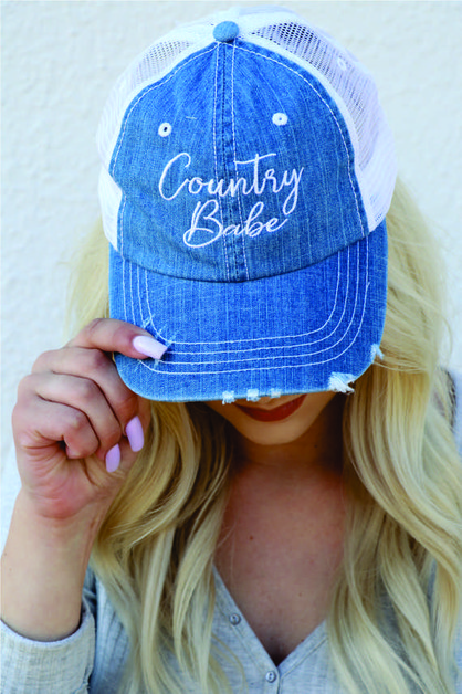 Country Babe Denim Mesh Trucker Hat - orangeshine.com