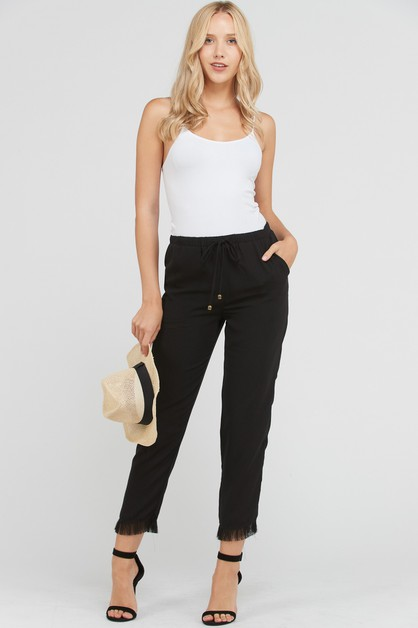 FRAYED HEM PANT WITH WAIST TRIM - orangeshine.com