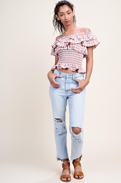 Smocked Top with Ruffle Off Shoulder - orangeshine.com
