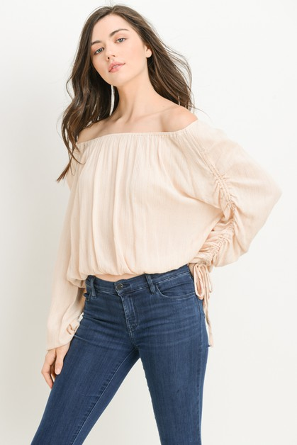 Drawstring Off Shoulder Top - orangeshine.com