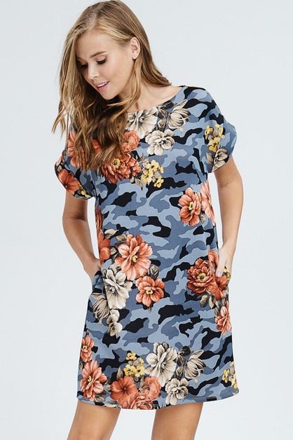 Camouflage And Floral Dress - orangeshine.com
