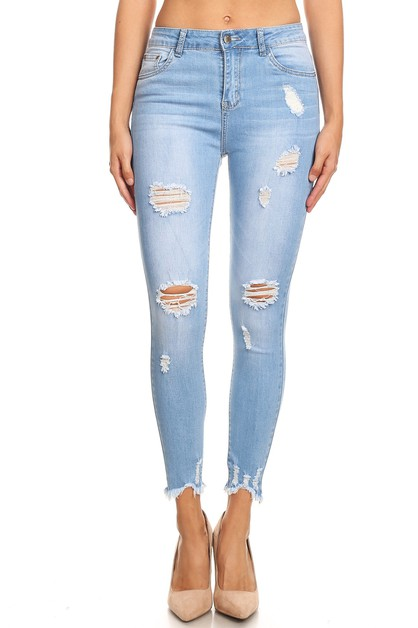LIGHT WASH DISTRESSED JEANS  - orangeshine.com
