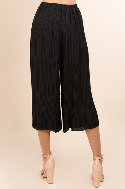 PLEATED WIDE LEG LAYERED PANTS - orangeshine.com