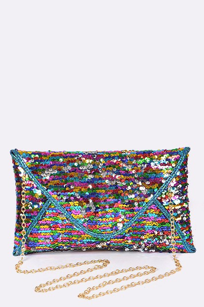 Sequins Envelope Clutch Bag - orangeshine.com