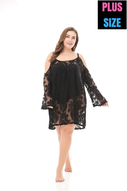 Black Off Shoulder Lace Beach blouse - orangeshine.com