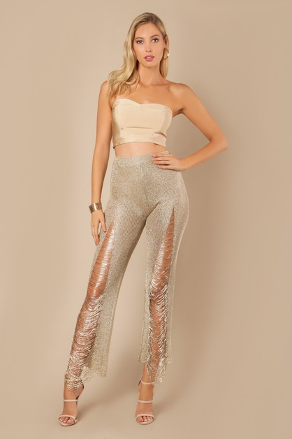 Distressed Fringed Metallic Pants - orangeshine.com