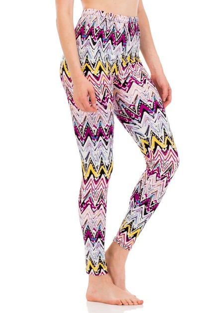 Mix Pallet Chevron Peach Leggings - orangeshine.com