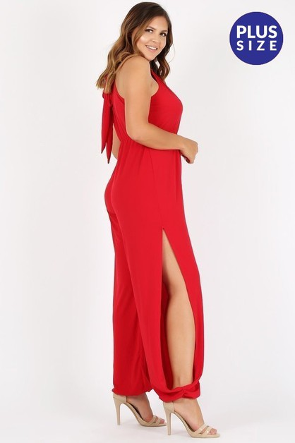 Solid sleeveless jumpsuit - orangeshine.com