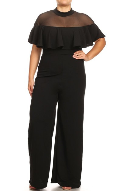 Mesh contrast and ruffle jumpsuit - orangeshine.com