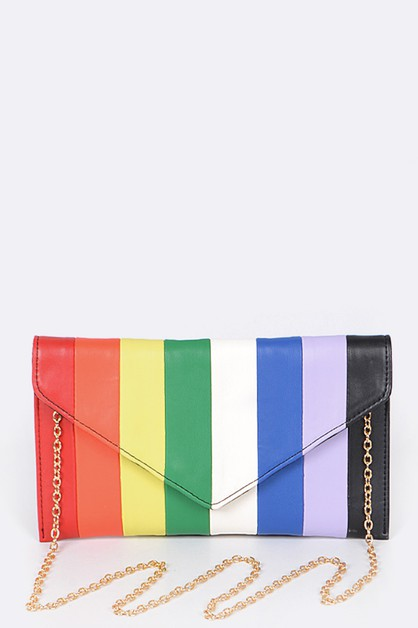 Rainbow Color Piecing Clutch - orangeshine.com