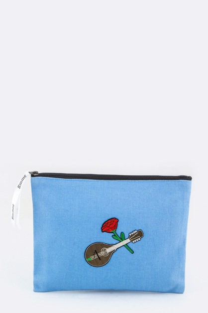 Rose Guitar Embroidery Canvas Pouch - orangeshine.com
