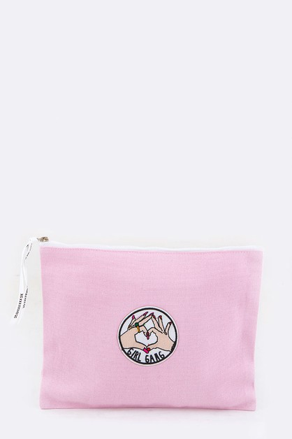 GIRL GANG Embroidery Canvas Pouch - orangeshine.com