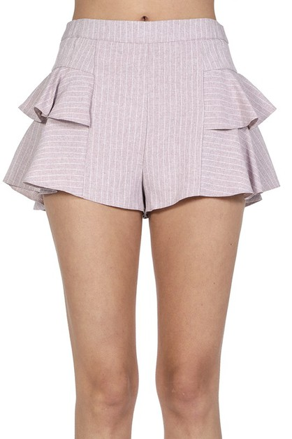 Striped Tier Side Ruffled Shorts - orangeshine.com