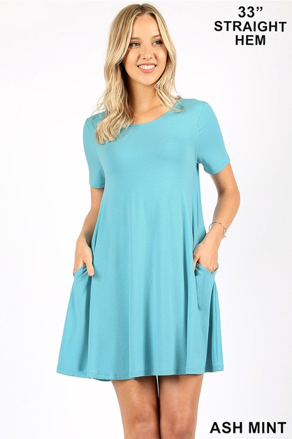 ROUND-NECK STRAIGHT HEM TUNIC - orangeshine.com