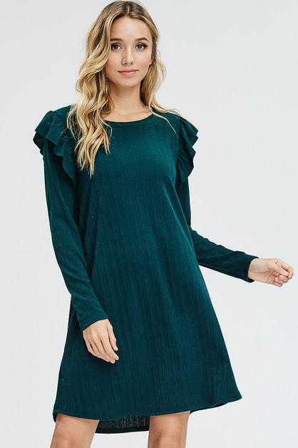 Tiered Ruffle Long Sleeve Knit Dress - orangeshine.com